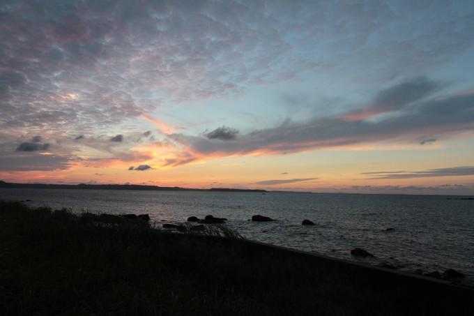 玄界灘で眺める夕景。